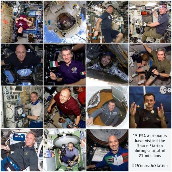 En 15 ans, 15 astronautes européens à bord de la Station Spatiale Internationale (credit ESA)