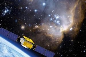 Vue d'artiste du satellite chinois DAMPE pour l'étude de la matière noire (Crédit: Université de Genève)