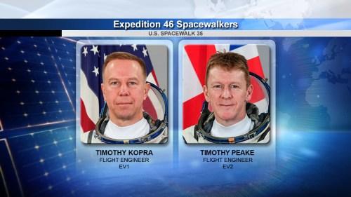 Tim Kopra et Tim Peake réaliseront l'EVA 35 le 15/01/16 (crédit NASA)