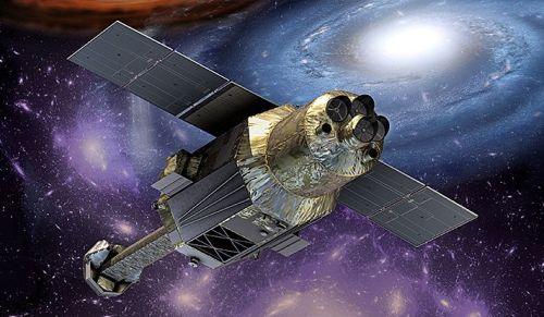 """Vue d'artiste du télescope spatial japonais Astro-H """"Hitomi""""en orbite (source Jaxa)"""