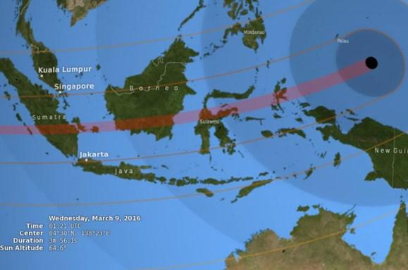 Zone de visibilité de l'éclipse totale du soleil du 8 mars 2016 (source NASA'S Goddard Space Fligth Center/E. Wright)