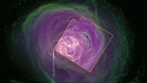 """L'amas de Persée par le satellite Hitomi, composé de 190 galaxies, d'un trou noir supermassif et d'une """"atmosphère"""" de gaz chaud visibles aux rayons-X. (credits HITOMI COLLABORATION/JAXA, NASA, ESA, SRON, CSA)"""