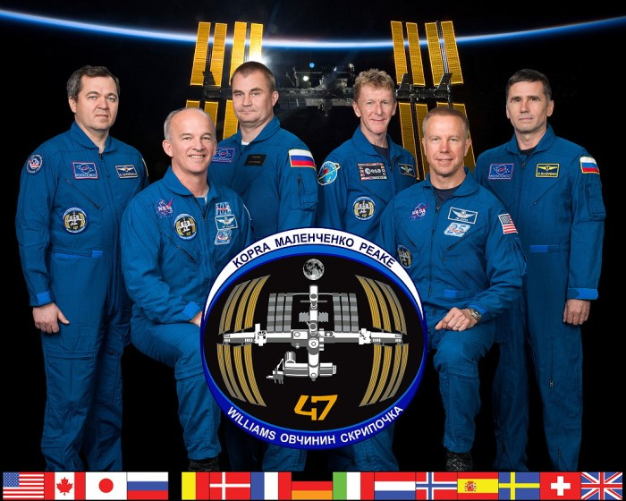Expedition 47 (de G à D) : Oleg Skripochka, Jeff Williams, Alexey Ovchinin, Tim Peake, Tim Kopra et Yuri Malenchenko (credit NASA)