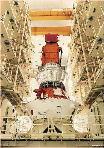 L'étage supérieur Volga et le satellite Lomonosov pour le premier lancement depuis le site de Vostochny (credit Roscosmos)