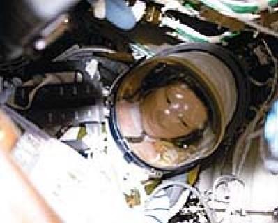 """Photo d'un """"taïkobot"""" ou mannequin bourré de capteurs utilisé lors des premiers vols spatiaux chinois en vu des vols habités"""