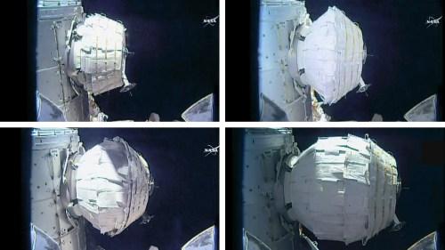 Différentes étapes du déploiement du module BEAM sur l'ISS (credit NASA TV)