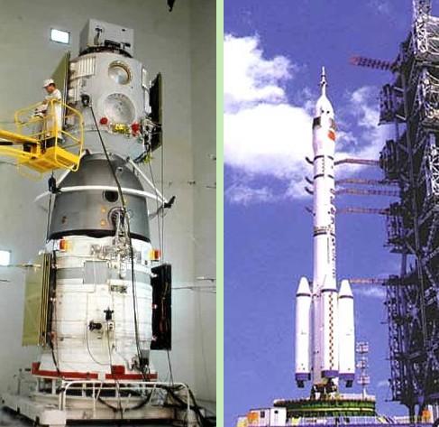 Le vaisseau Shenzhou 3 et le lanceur CZ-2F