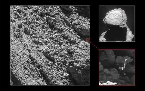Images traitées de la caméra OSIRIS de la sonde ROSETTA prise le 2 Septembre 2016 à une distance de 2,7 km où Philae a été définitivement identifié. (© ESA/Rosetta/MPS for OSIRIS Team MPS/UPD/LAM/IAA/SSO/INTA/UPM/DASP/IDA)