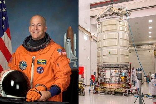 Alan Poindexter et le cargo Cygnus OA-5 qui porte son nom (credits NASA)