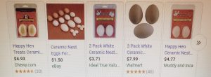 5 photos of ceramic eggs for training chickens where to lay