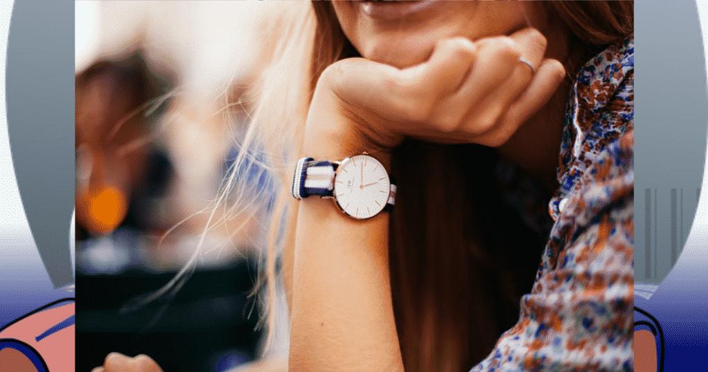 woman wearing hand watch