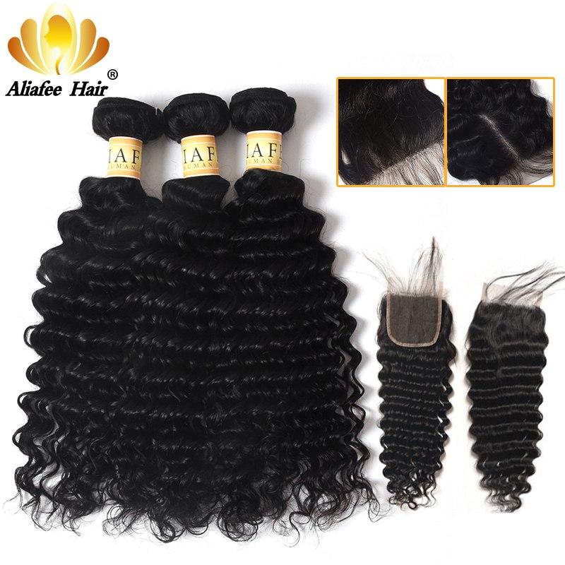 AliAfee Brazilian Deep Wave Bundles With Closure 100% Human Hair Extension 3 Bundles Deal Non Remy