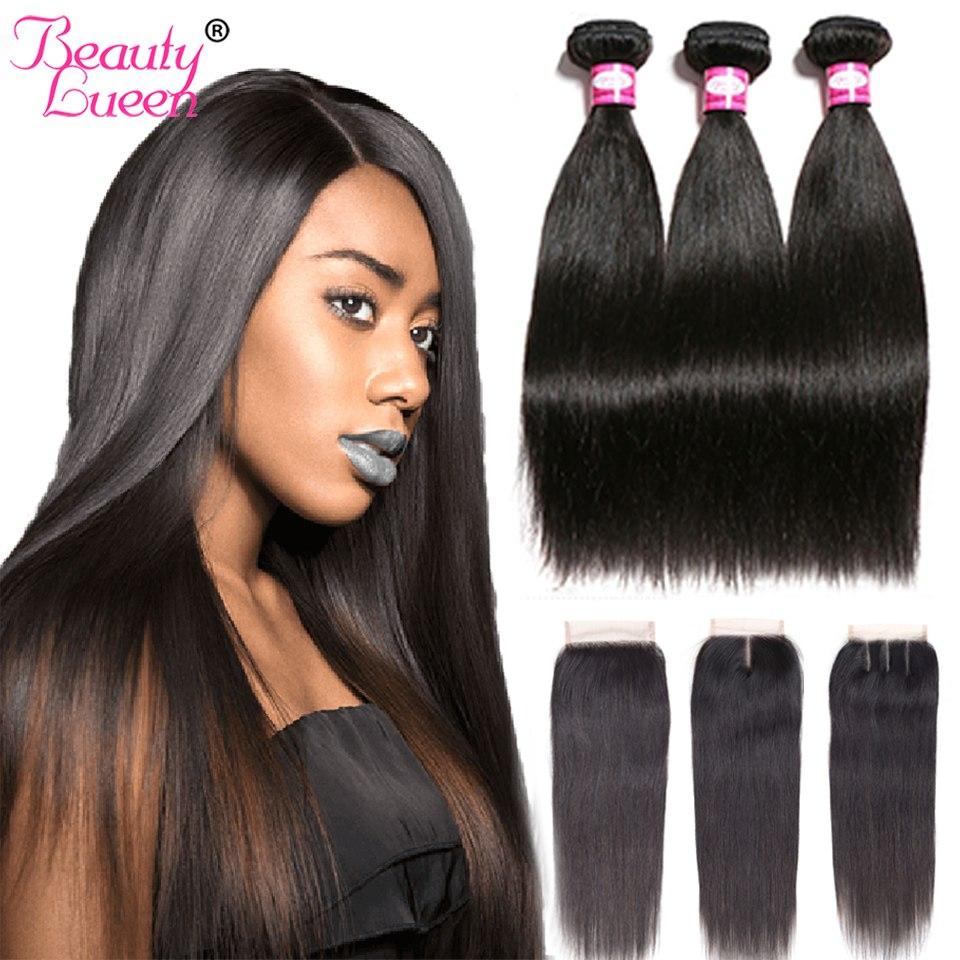 Brazilian Straight Hair Weave Bundles With Closure Remy 3/4 Bundles Brazillian Straight Hair With Closure Jet Black Human Hair
