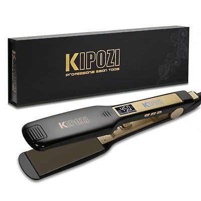 KIPOZI Salon Professional Flat Iron Hair Straightener Titanium Digital Display
