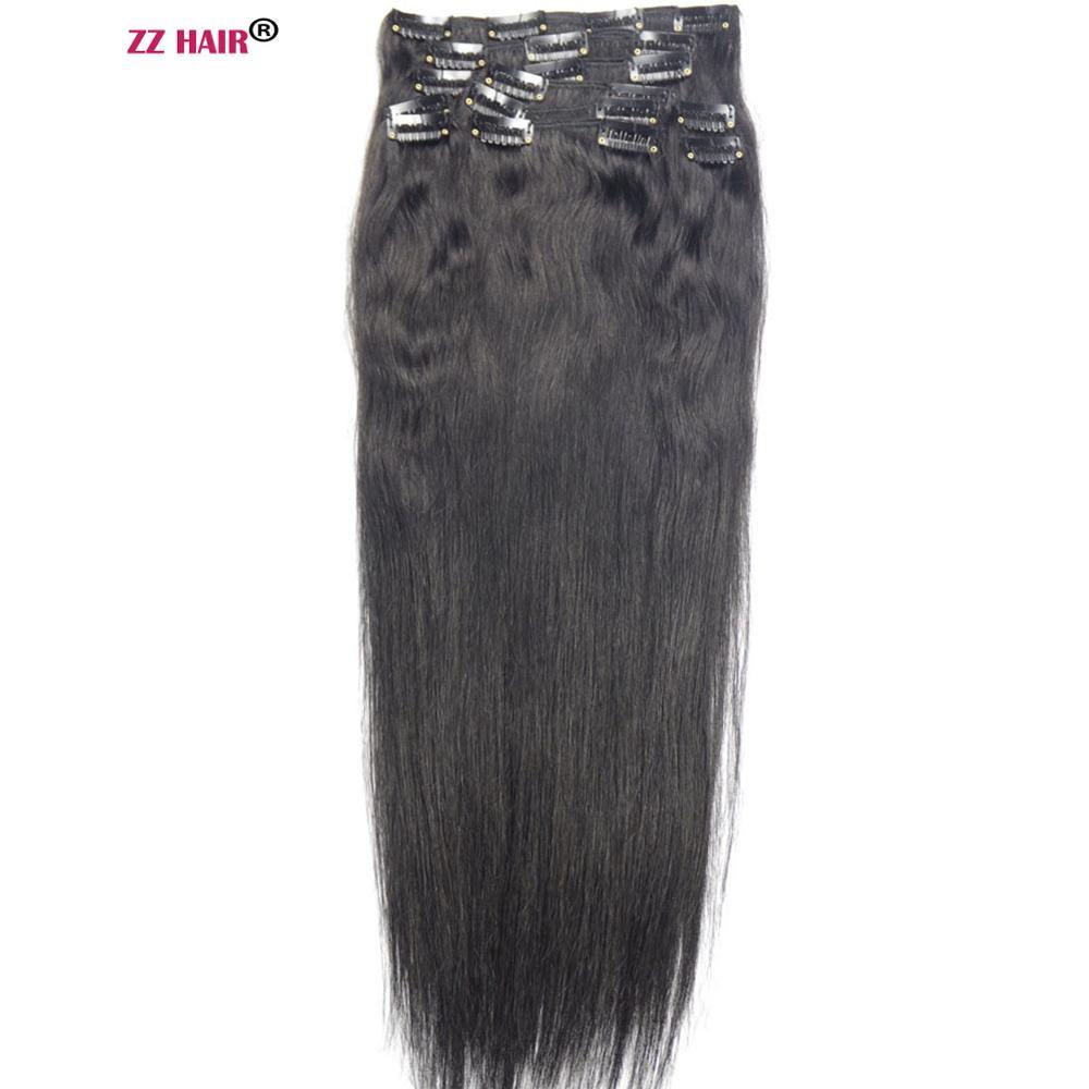 "ZZHAIR 140g-280g 16""-24"" Machine Made Remy Hair 10pcs Set Clips In Human Hair Extensions Full Head Set Natural Straight Hair"