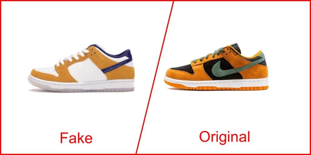 8. Nike Dunk Low - Nike Shoes knockoff Vs Original