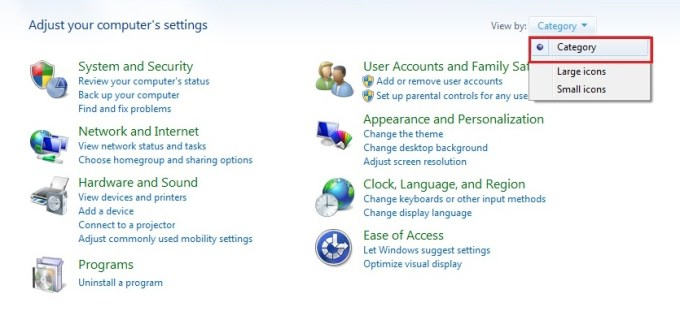 windows 7 control panel view by