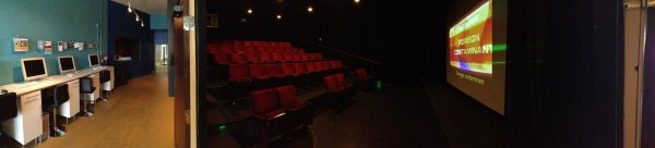 Click the pic for a panorama view of the theater and Digital Gym lobby.