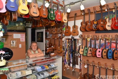 Ric, behind the counter at Hale Ukulele. ~Photo by Reviewer Rob