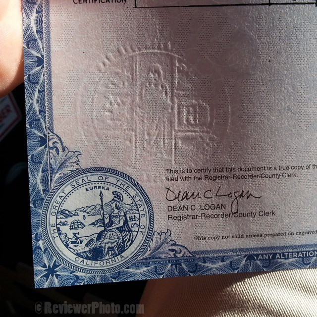 """The all-important official stamp on the U.S. """"certified"""" birth certificate. Photo by ReviewerPhoto.com."""