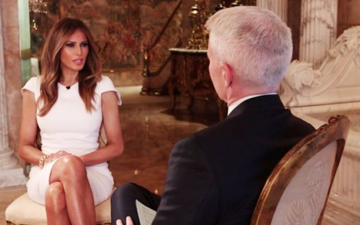 Melania Trump and Anderson Cooper on AC360, 10-17-16.