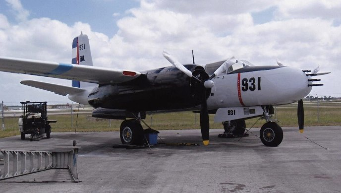 This US Douglas A-26 C Invader located at Tamiami Executive airport was painted in fake Cuban Air Force colors for the military invasion of Cuba undertaken by the CIA-sponsored paramilitary group Brigade 2506 in April 1961.