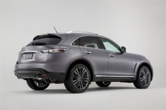 The 2017 Infiniti QX70 Limited model's exterior enhancements begin with a unique front fascia, LED daytime running lights replacing the standard QX70 fog lights and a new grille design (coming on all 2017 QX70 models). Other changes include body-color side air vents, dark-finish outside mirror housings, dark finish rear combination lamps and a stainless steel rear bumper protector.