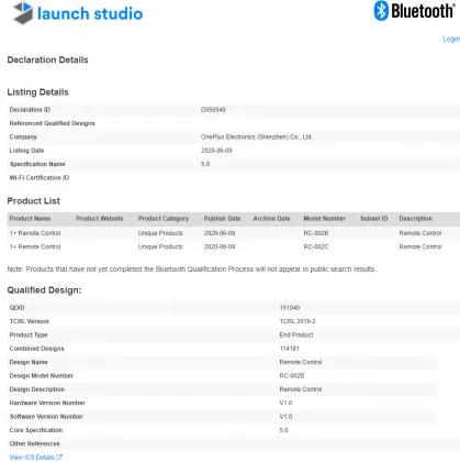 Bluetooth Certification OnePlus TV