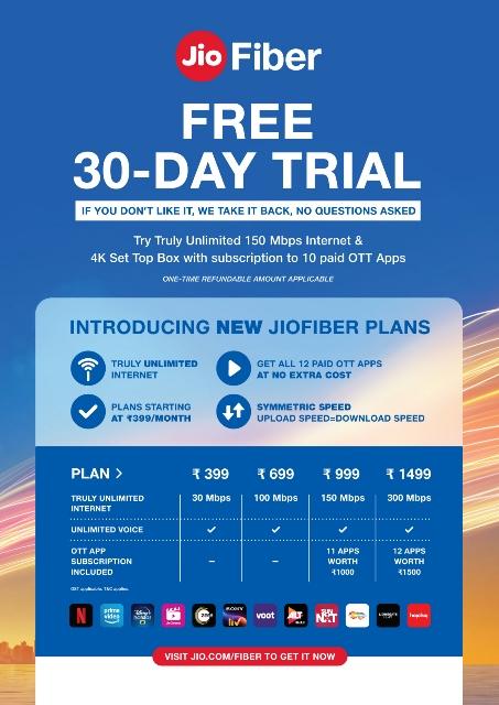 JioFiber 30 day free trial