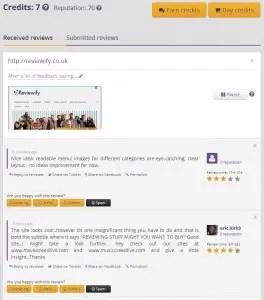 Criticue feedback page