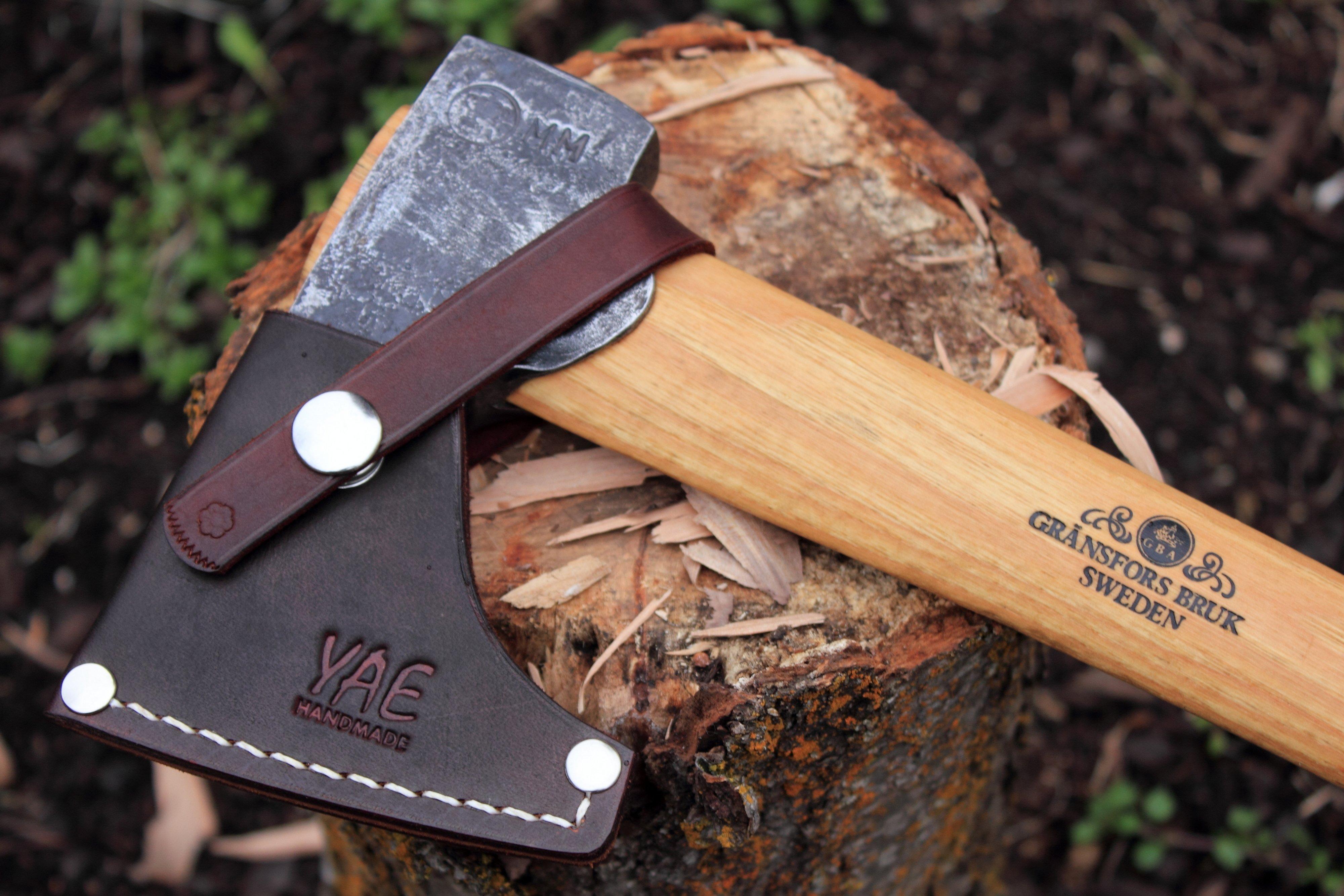 Axe Sheath for Gransfors Bruks Wildlife Hatchet (and G B  Large Carving  Hatchet, Carved Handle)