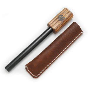 Ferrocerium Firesteel with Wooden Handle and Leather Sleeve