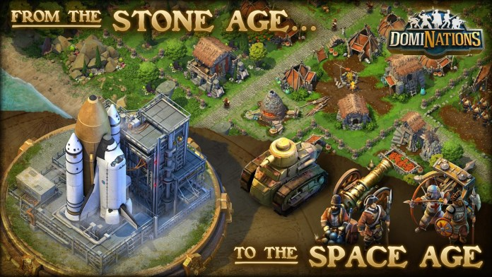 From legendary game designer Brian Reynolds (Civilization II, Rise of Nations), DomiNations is an epic new strategy game of exploration, advancement, and conquest. Lead your Nation to ultimate victory throughout all of human history – from the Stone Age to the Space Age! Build your capital city, pick your Nation from among the greatest civilizations of the world, and defeat rival Alliances to become the most powerful ruler on the planet!