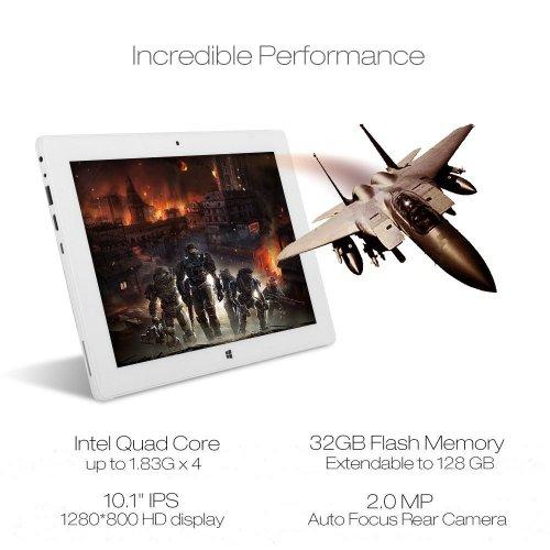 iRULU Walknbook Hybrid Tablet PC 10.1 inch, RAM 2GB, 32GB Flash Storage, 2-in-1 Tablet - Laptop, Microsoft Windows 10 OS, Quad Core, 1280x800 Resolution (Gold)