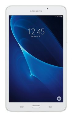 Samsung Galaxy Tab A 7 inch Tablet, Google Android 5.1 Lollipop, 1.3 GHz Processor, RAM 1.5GB DDR3, 8GB Storage, Dual Cameras, White