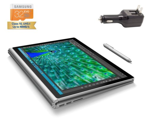 Microsoft Surface Book 2 in 1 Tablet - Laptop 13.5 inch touchscreen 3000x2000 QHD Digitizer Pen Windows 10 Pro (i7-6500U 16G 512G NVIDIA GeForce dGPU Wilress Display, SD)