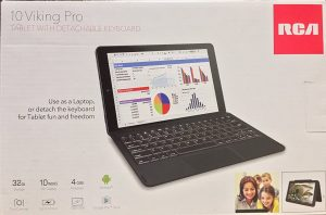 RCA 10 Viking Pro with Keyboard Android Tablet, Google Android 6.0 Marshmallow with Keyboard, 10 inch Multi-Touch Display 1280x800 HD, GPS, WiFi, Bluetooth, Rear Webcam 2MP, BLACK