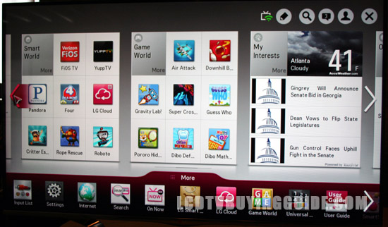 LGs Smart TV Apps as well as Smart World and Game World