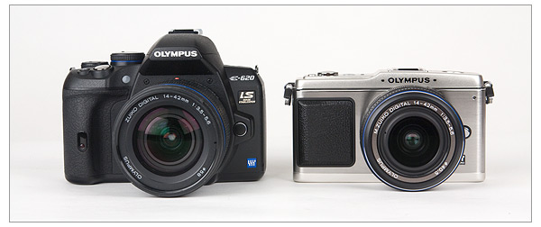 Olympus E-620 and Olympus E-P1 - Front