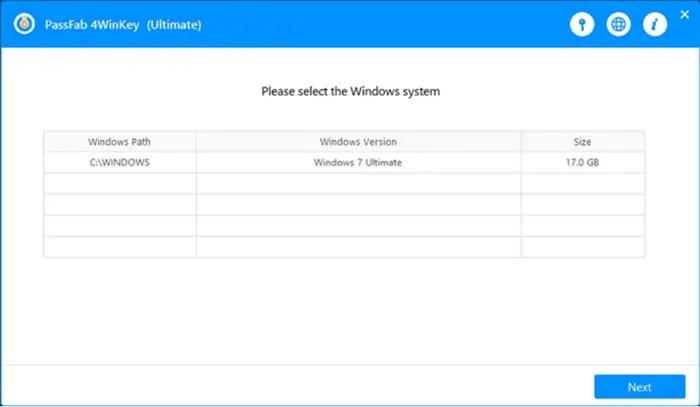 Quét hệ điều hành PassFab 4WinKey