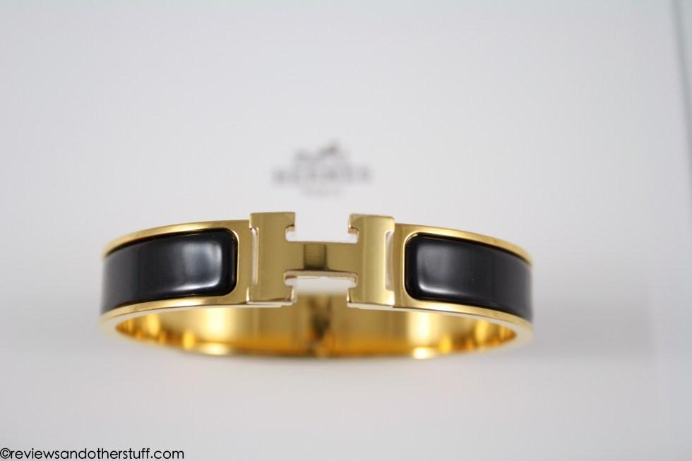 hermes clic h black enamel bracelet in gm