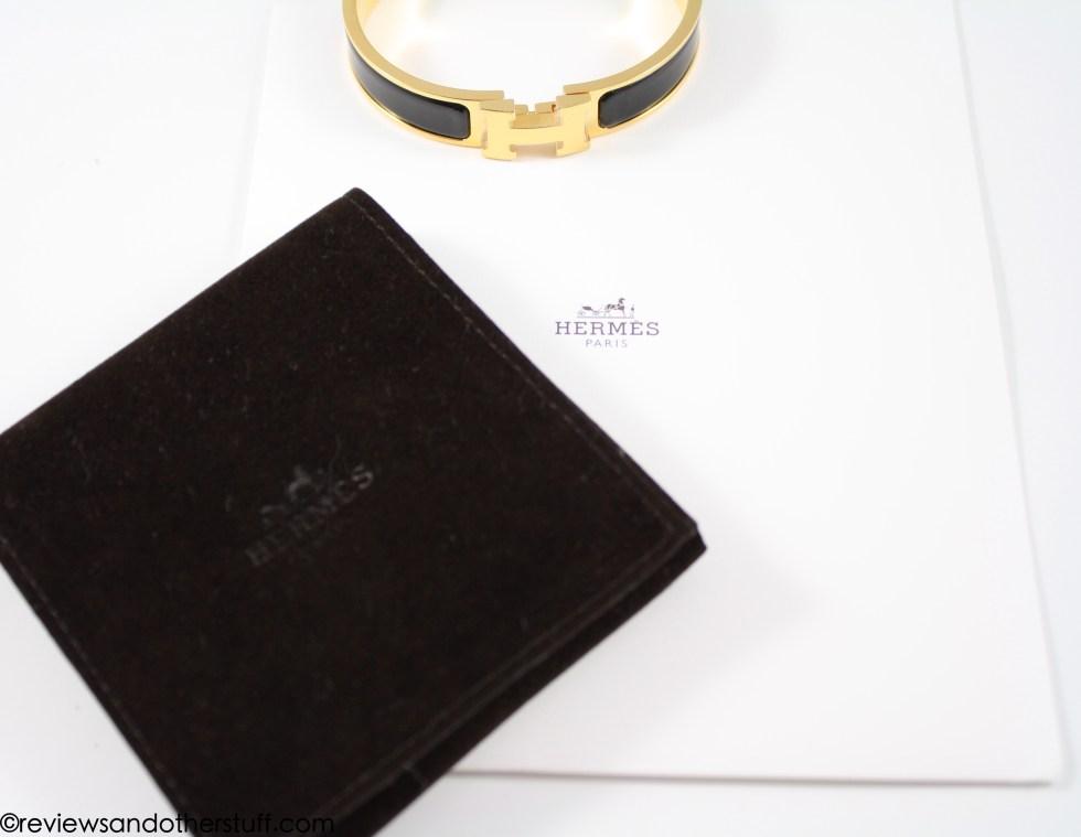 hermes clic h bracelet in black enamel gold hardware