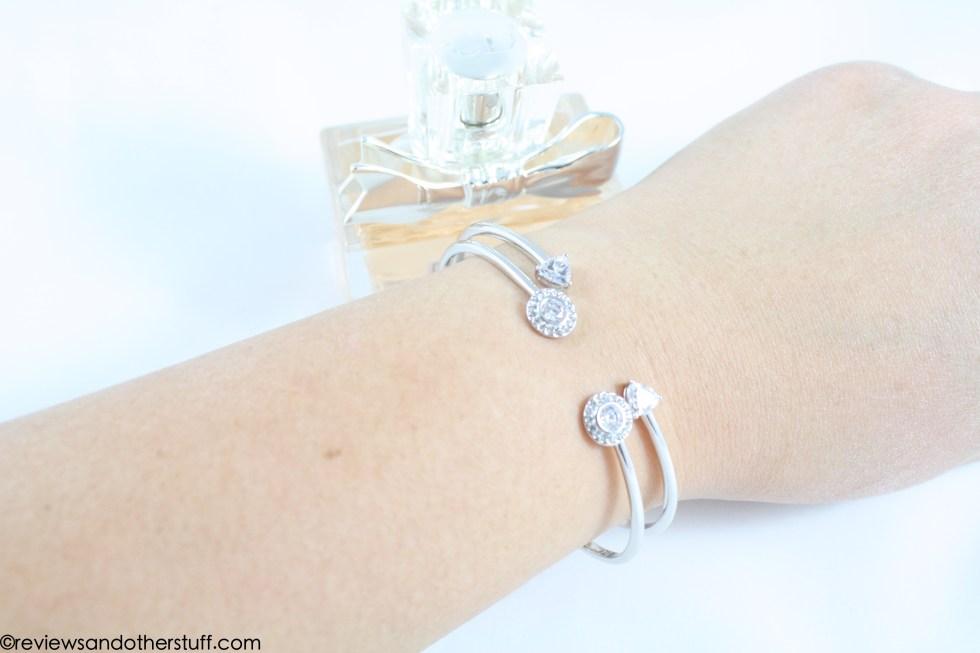 nadri arrow bracelet and framed pave bracelet on wrist review