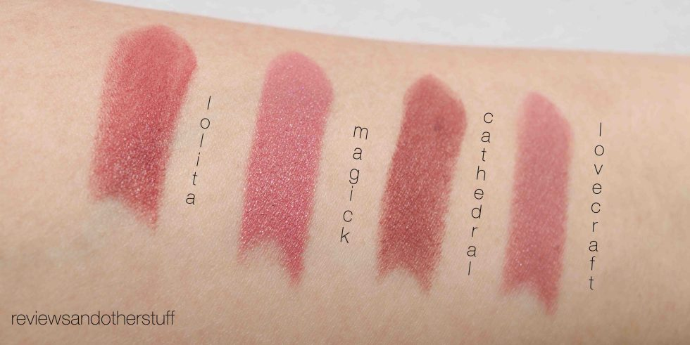 kat von d studded kiss lipstick swatch on arms