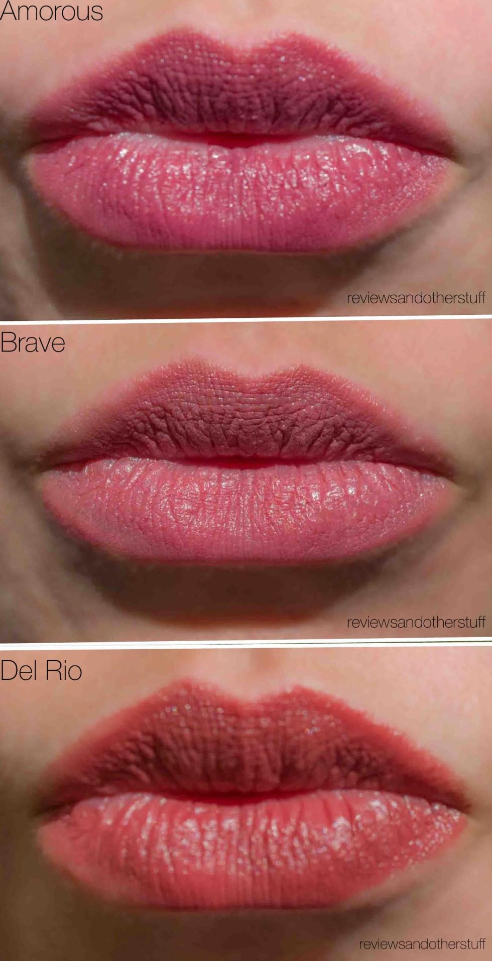 mac satin swatches on lips