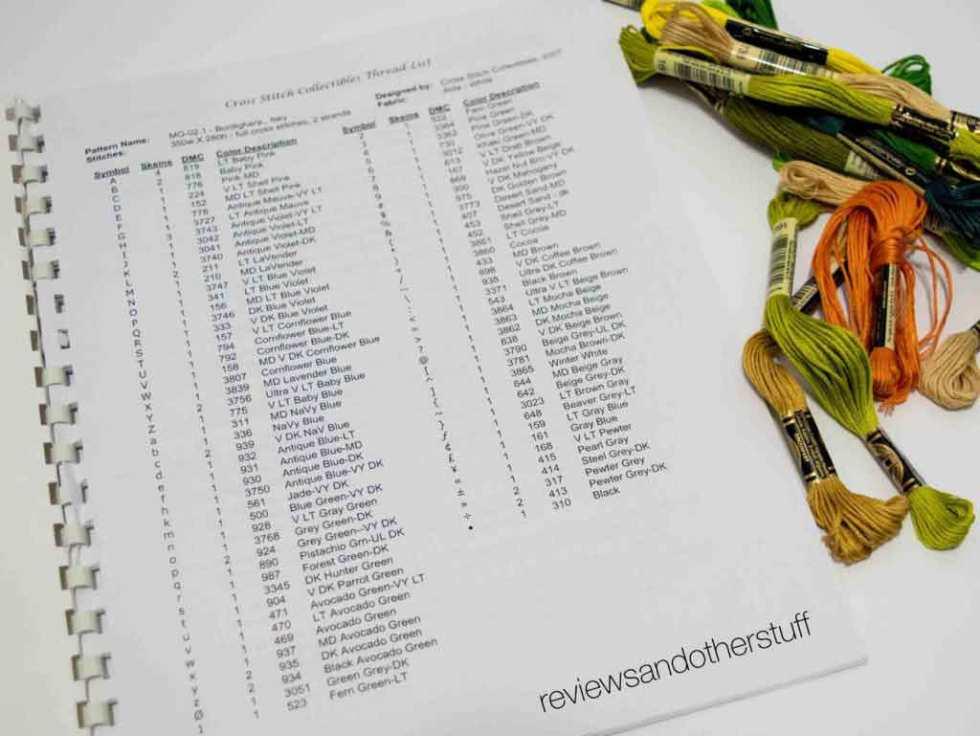 cross stitch floss numbers organization