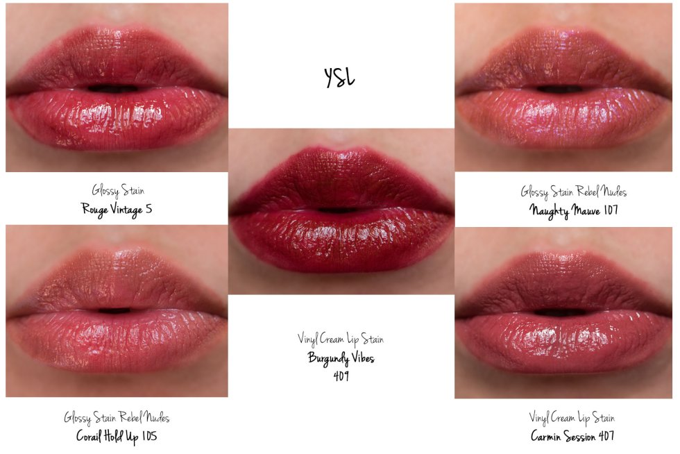 YSL Vernis A ysl vernis a levres glossy stain, glossy stain rebel nudes, vinyl cream lip stain swatches 05 rouge vintage 107 coral hold up 109 naughty mauve 407 carmin session 409 Burgundy vibes