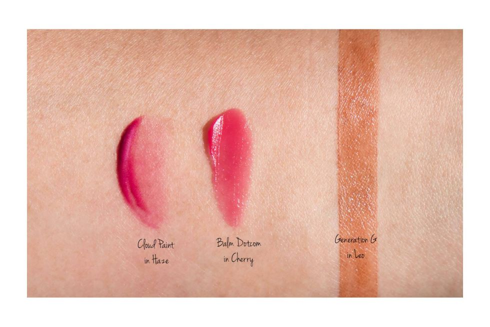 glossier balm dotcom in cherry swatch