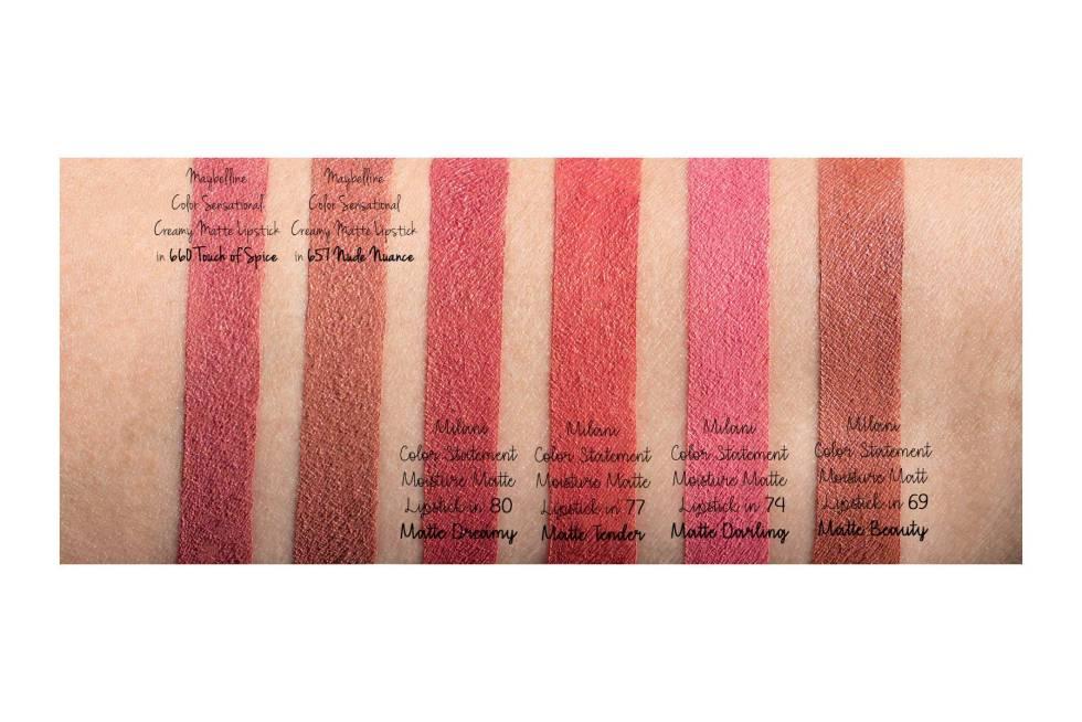 Milani Color Statement Matte Lipstick 69 matte beauty, 74 matte darling, 77 matte tender, 80 matte dreamy