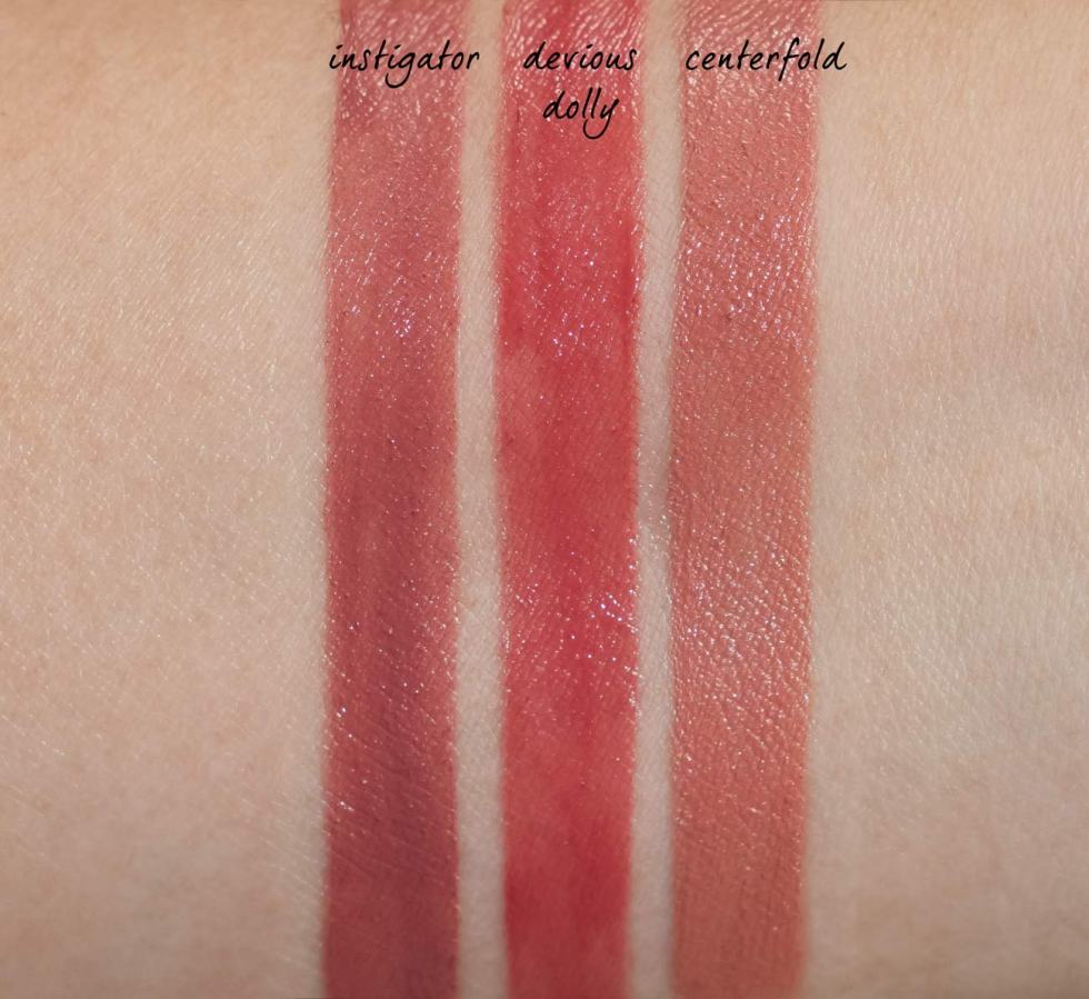 buxom wildly whipped lightweight lipstick in instigator, devious dolly, and centerfold swatches